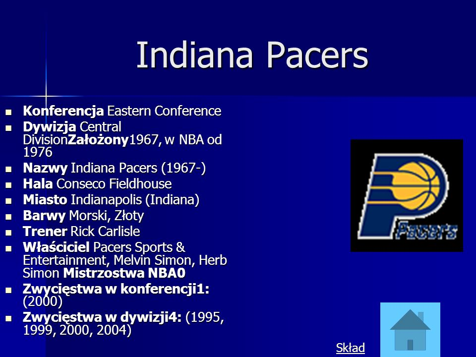 Indiana Pacers Konferencja Eastern Conference Konferencja Eastern Conference Dywizja Central DivisionZałożony1967, w NBA od 1976 Dywizja Central Divis