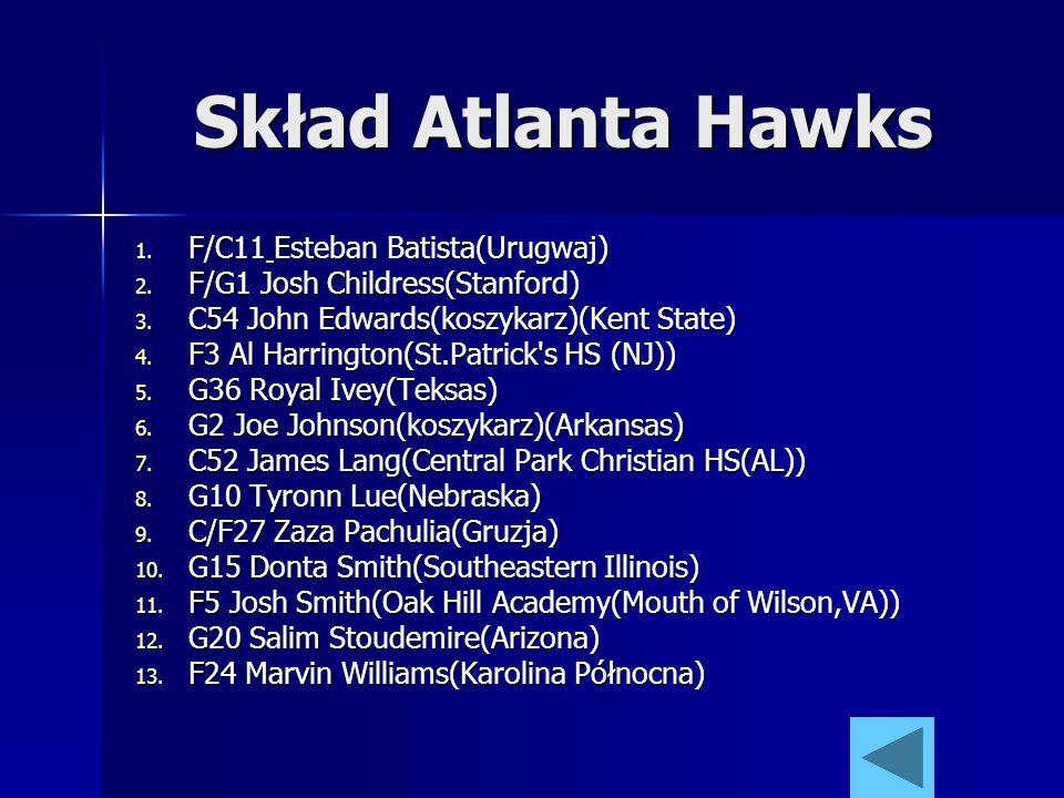 Skład Atlanta Hawks 1. F/C11 Esteban Batista(Urugwaj) 2. F/G1 Josh Childress(Stanford) 3. C54 John Edwards(koszykarz)(Kent State) 4. F3 Al Harrington(