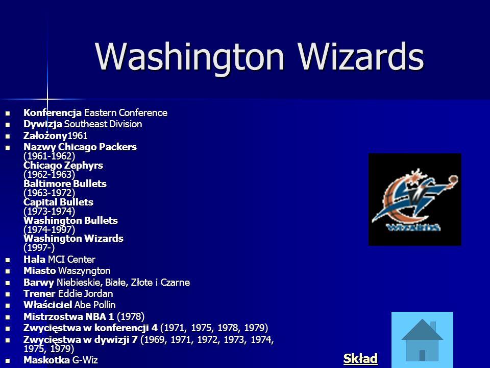 Washington Wizards Konferencja Eastern Conference Konferencja Eastern Conference Dywizja Southeast Division Dywizja Southeast Division Założony1961 Za