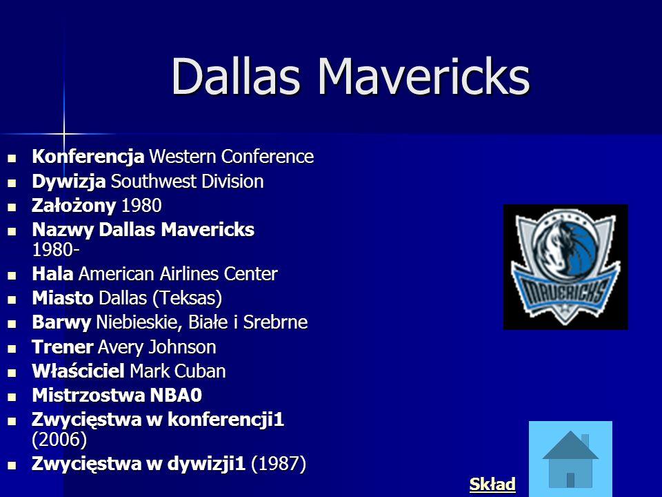 Dallas Mavericks Konferencja Western Conference Konferencja Western Conference Dywizja Southwest Division Dywizja Southwest Division Założony 1980 Zał