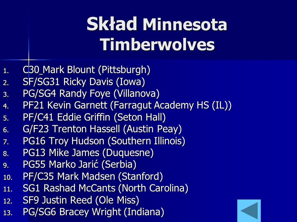 Skład Minnesota Timberwolves 1. C30 Mark Blount (Pittsburgh) 2. SF/SG31 Ricky Davis (Iowa) 3. PG/SG4 Randy Foye (Villanova) 4. PF21 Kevin Garnett (Far