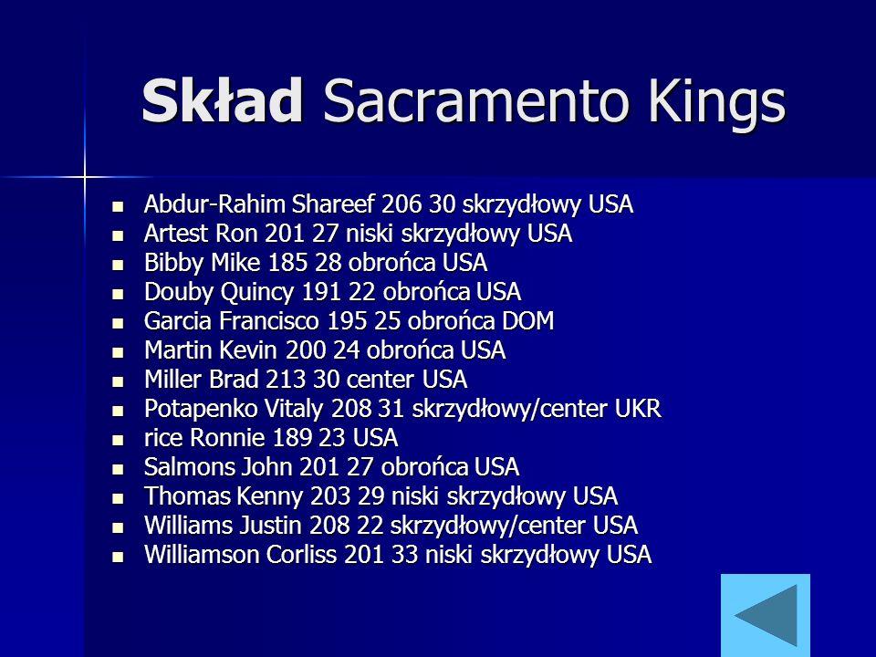 Skład Sacramento Kings Abdur-Rahim Shareef 206 30 skrzydłowy USA Abdur-Rahim Shareef 206 30 skrzydłowy USA Artest Ron 201 27 niski skrzydłowy USA Arte