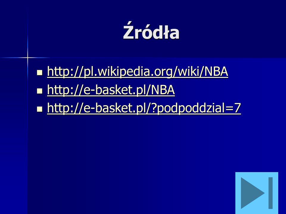 Źródła http://pl.wikipedia.org/wiki/NBA http://pl.wikipedia.org/wiki/NBA http://pl.wikipedia.org/wiki/NBA http://e-basket.pl/NBA http://e-basket.pl/NB