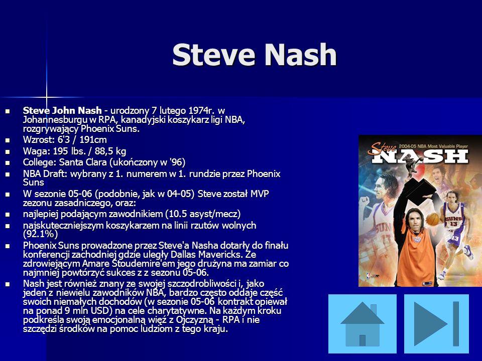 Steve Nash Steve John Nash - urodzony 7 lutego 1974r. w Johannesburgu w RPA, kanadyjski koszykarz ligi NBA, rozgrywający Phoenix Suns. Steve John Nash