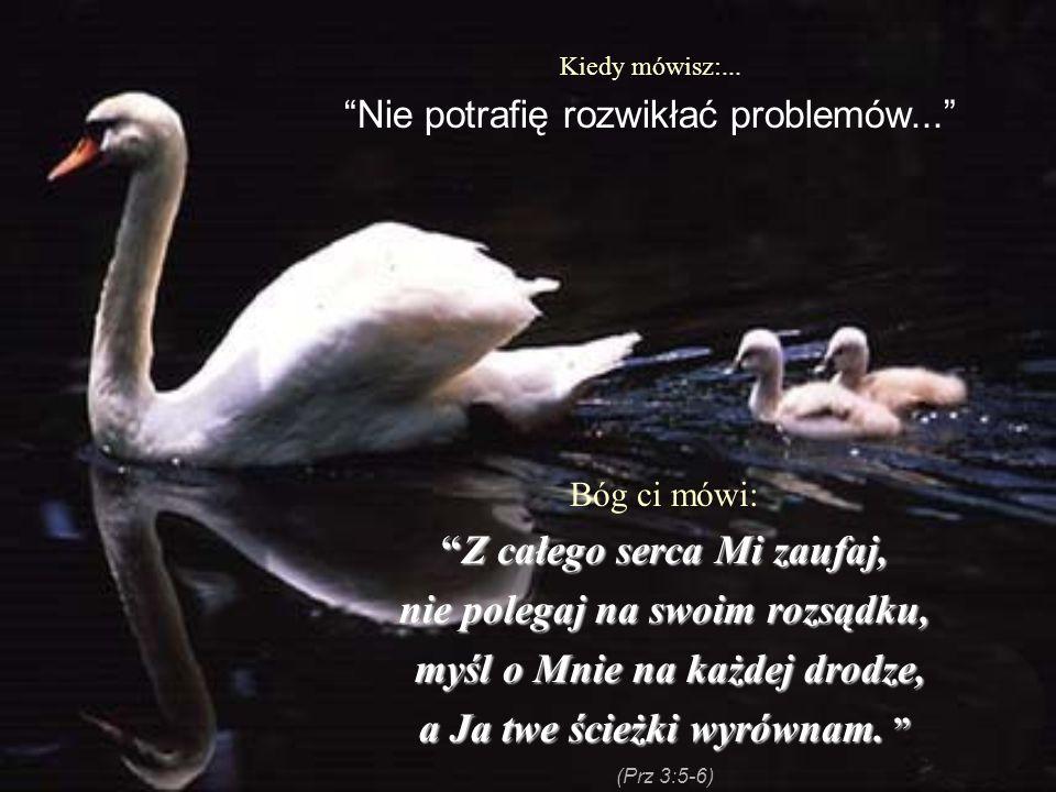 Kiedy mówisz:... Nie potrafię rozwikłać problemów... Bóg ci mówi: Z całego serca Mi zaufaj,Z całego serca Mi zaufaj, nie polegaj na swoim rozsądku, my