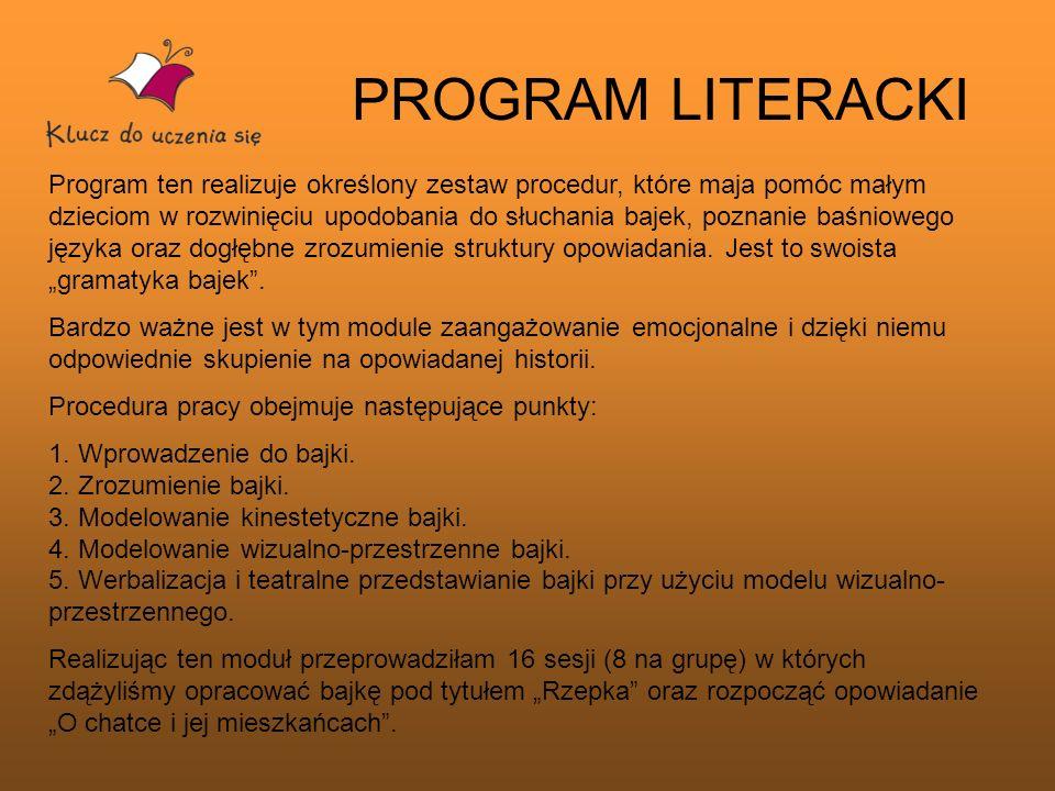 PROGRAM LITERACKI Program ten realizuje określony zestaw procedur, które maja pomóc małym dzieciom w rozwinięciu upodobania do słuchania bajek, poznan