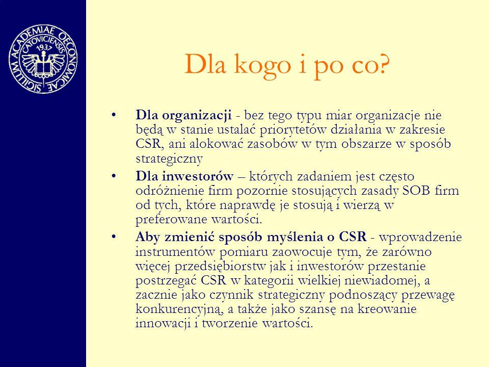 Ewolucja pomiaru CSR wiele firm widzi potrzebę dzielenia się ze społeczeństwem wiedzą na temat podejmowanych przez nie działań w tym zakresie konsekwencja nacisków ze strony organizacji pozarządowych, grup konsumentów czy funduszy SRI na ujawnienie informacji takich jak np.