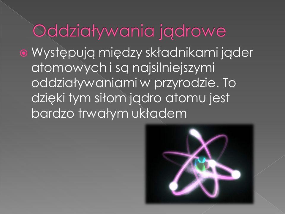 Występują między składnikami jąder atomowych i są najsilniejszymi oddziaływaniami w przyrodzie. To dzięki tym siłom jądro atomu jest bardzo trwałym uk