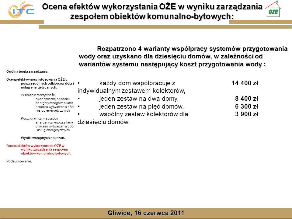 Gliwice, Lipiec 2008 Ocena efektów wykorzystania OŹE w wyniku zarządzania zespołem obiektów komunalno-bytowych: Gliwice, 16 czerwca 2011 Ogólna teoria zarządzania.