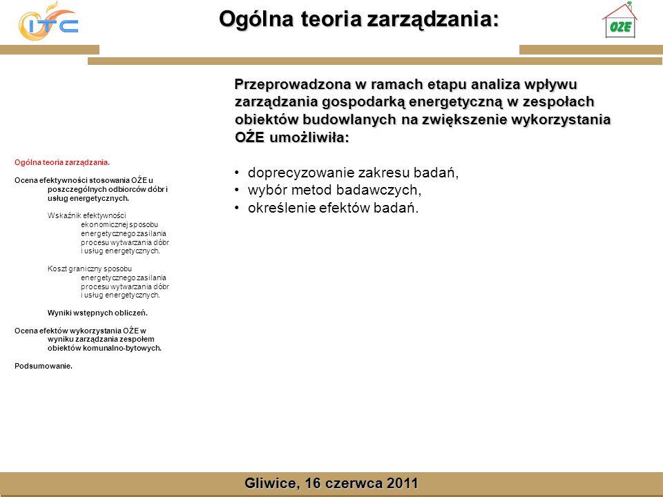 Gliwice, Lipiec 2008 Ocena efektywności stosowania OŹE : Gliwice, 16 czerwca 2011 Ogólna teoria zarządzania.