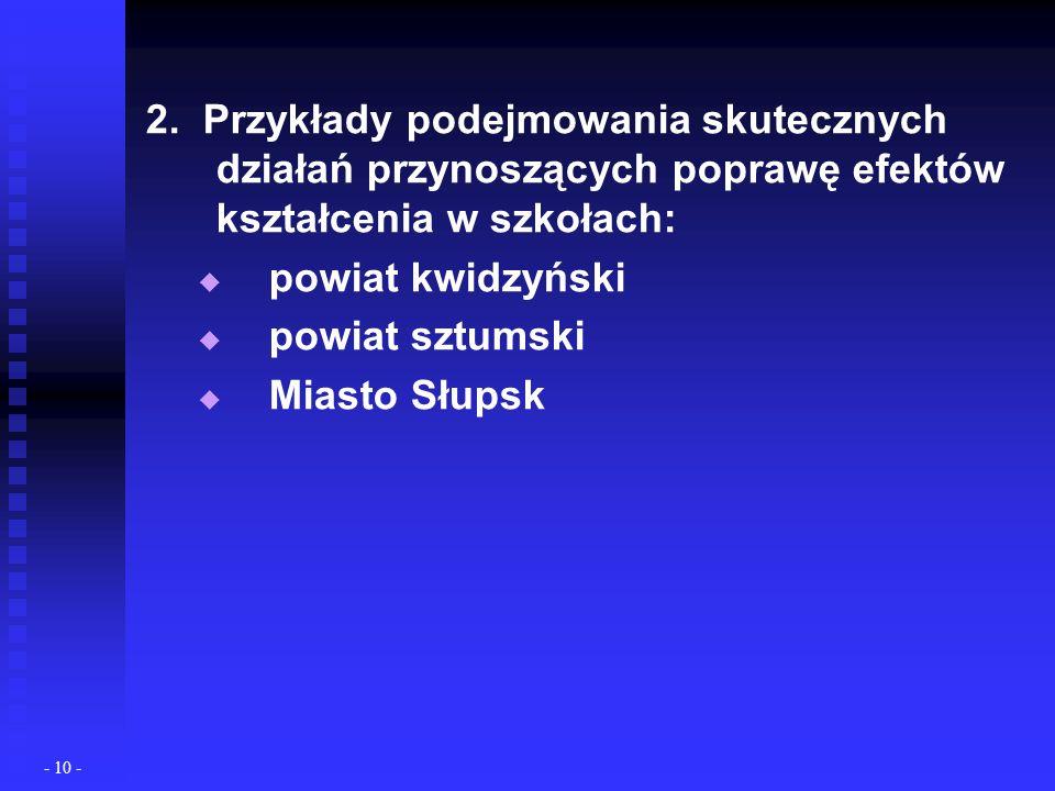 2. Przykłady podejmowania skutecznych działań przynoszących poprawę efektów kształcenia w szkołach: powiat kwidzyński powiat sztumski Miasto Słupsk -