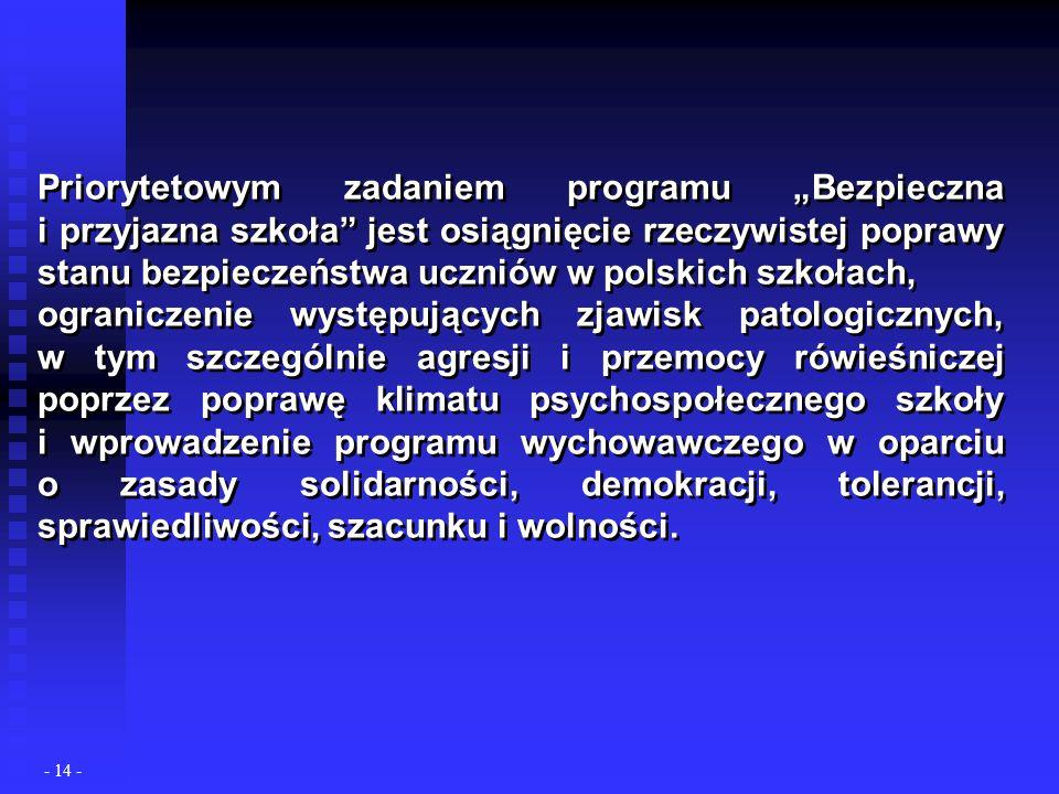 Priorytetowym zadaniem programu Bezpieczna i przyjazna szkoła jest osiągnięcie rzeczywistej poprawy stanu bezpieczeństwa uczniów w polskich szkołach, ograniczenie występujących zjawisk patologicznych, w tym szczególnie agresji i przemocy rówieśniczej poprzez poprawę klimatu psychospołecznego szkoły i wprowadzenie programu wychowawczego w oparciu o zasady solidarności, demokracji, tolerancji, sprawiedliwości, szacunku i wolności.