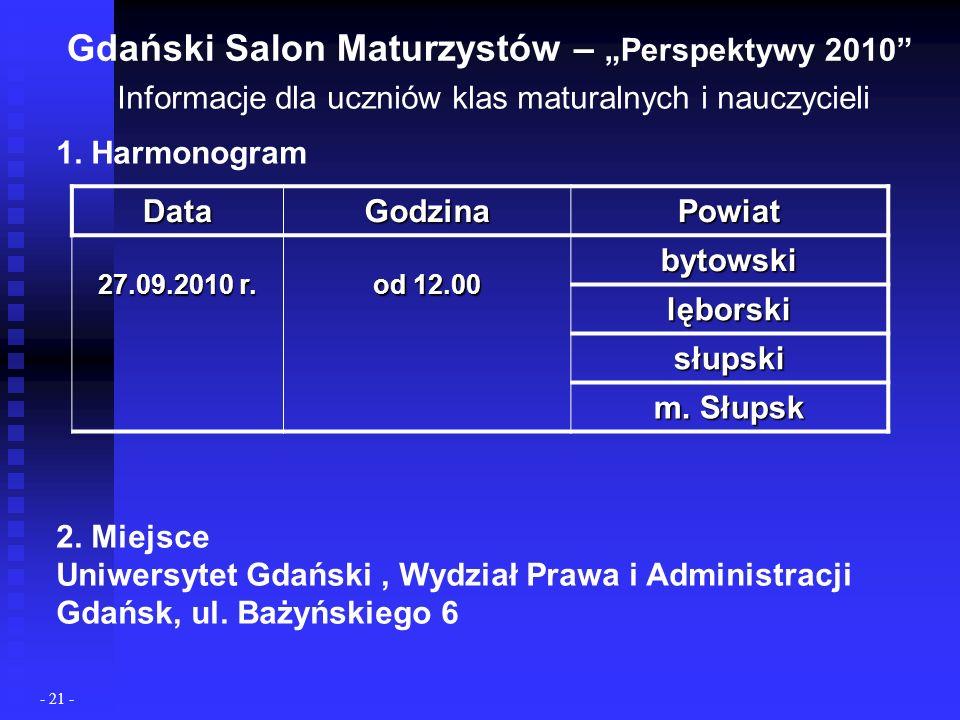 Gdański Salon Maturzystów – Perspektywy 2010 Informacje dla uczniów klas maturalnych i nauczycieli 1.