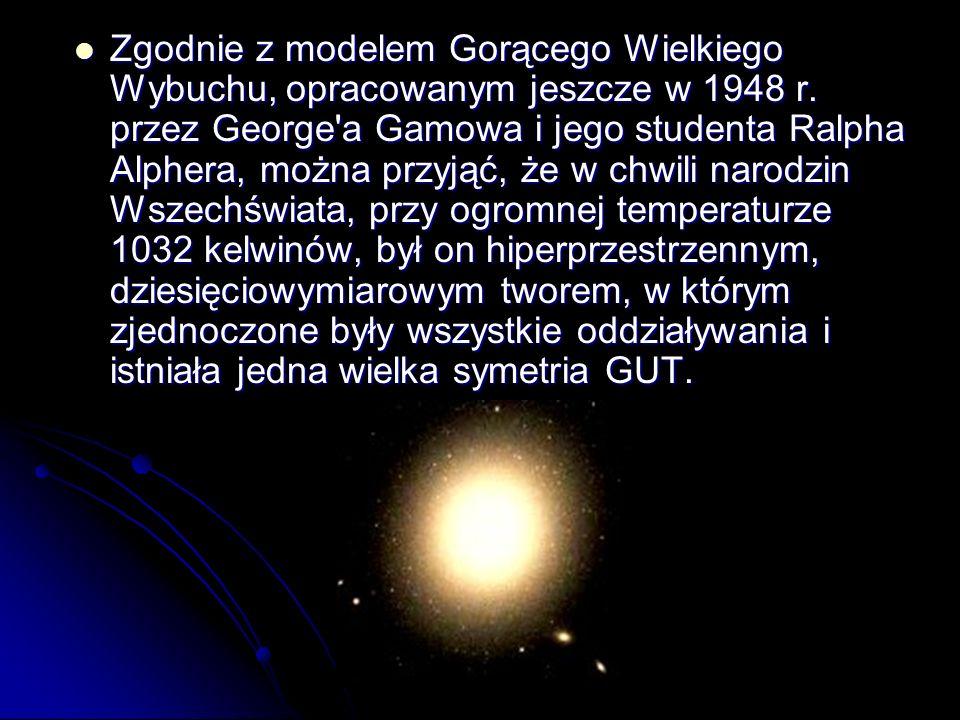 Zgodnie z modelem Gorącego Wielkiego Wybuchu, opracowanym jeszcze w 1948 r. przez George'a Gamowa i jego studenta Ralpha Alphera, można przyjąć, że w
