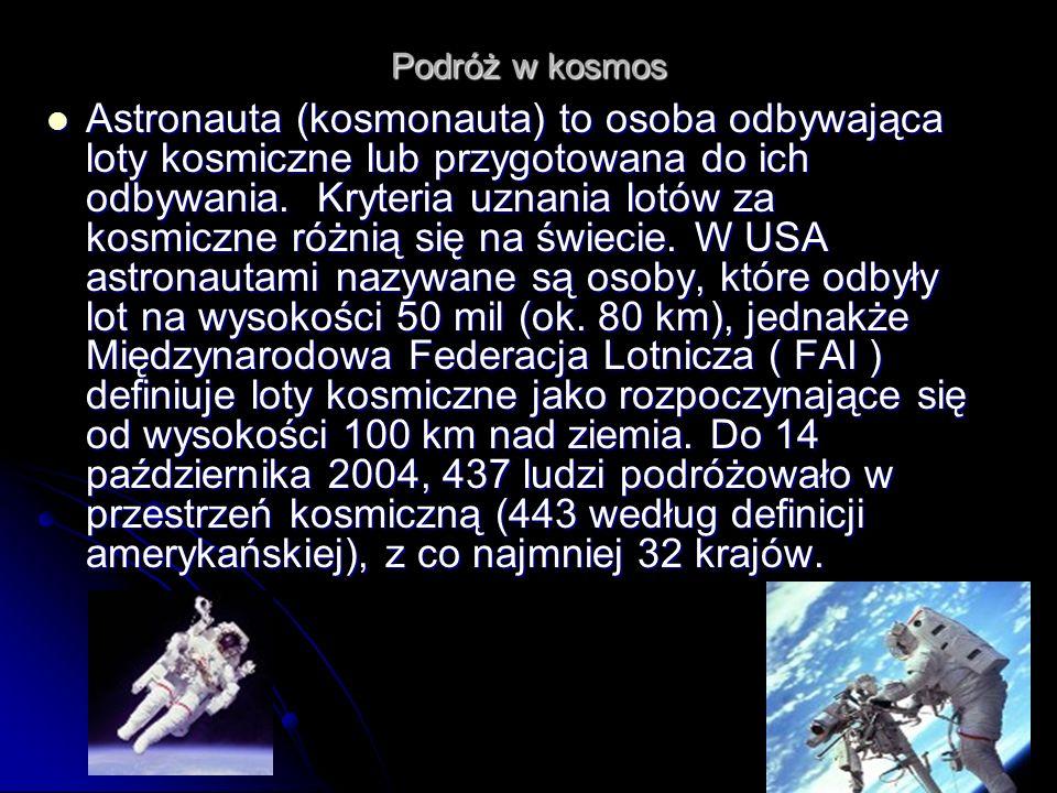 Do 14 października 2004, 437 ludzi podróżowało w przestrzeń kosmiczną (443 według definicji amerykańskiej), z co najmniej 32 krajów.