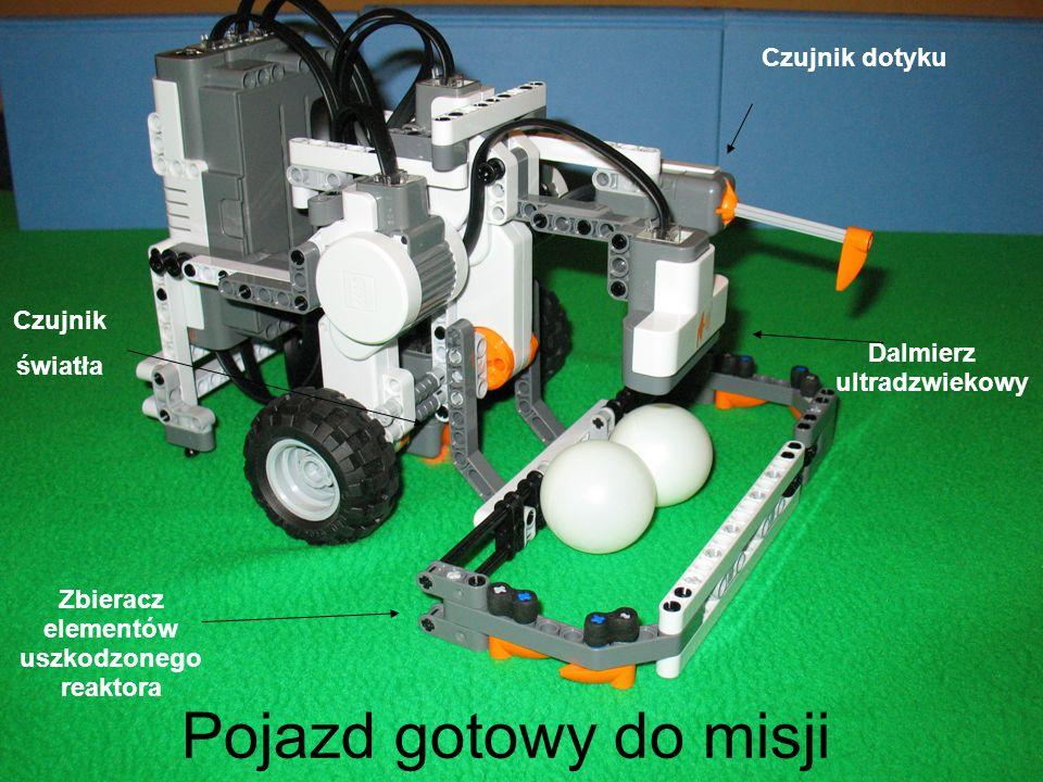 Pojazd gotowy do misji Zbieracz elementów uszkodzonego reaktora Czujnik światła Czujnik dotyku Dalmierz ultradzwiekowy