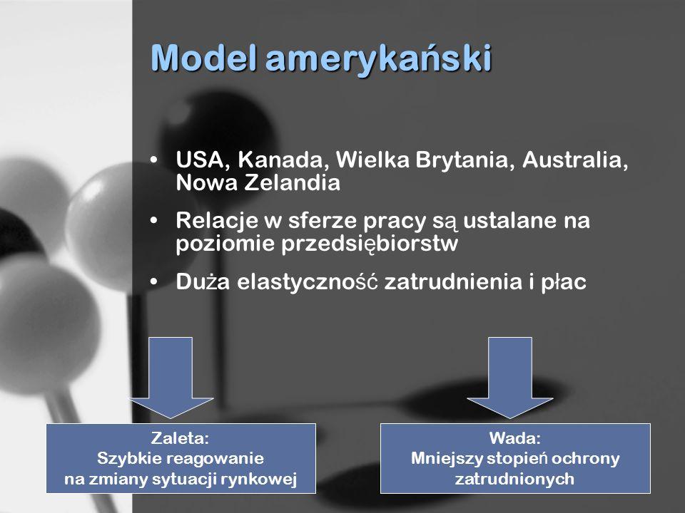 Model ameryka ń ski USA, Kanada, Wielka Brytania, Australia, Nowa Zelandia Relacje w sferze pracy s ą ustalane na poziomie przedsi ę biorstw Du ż a el
