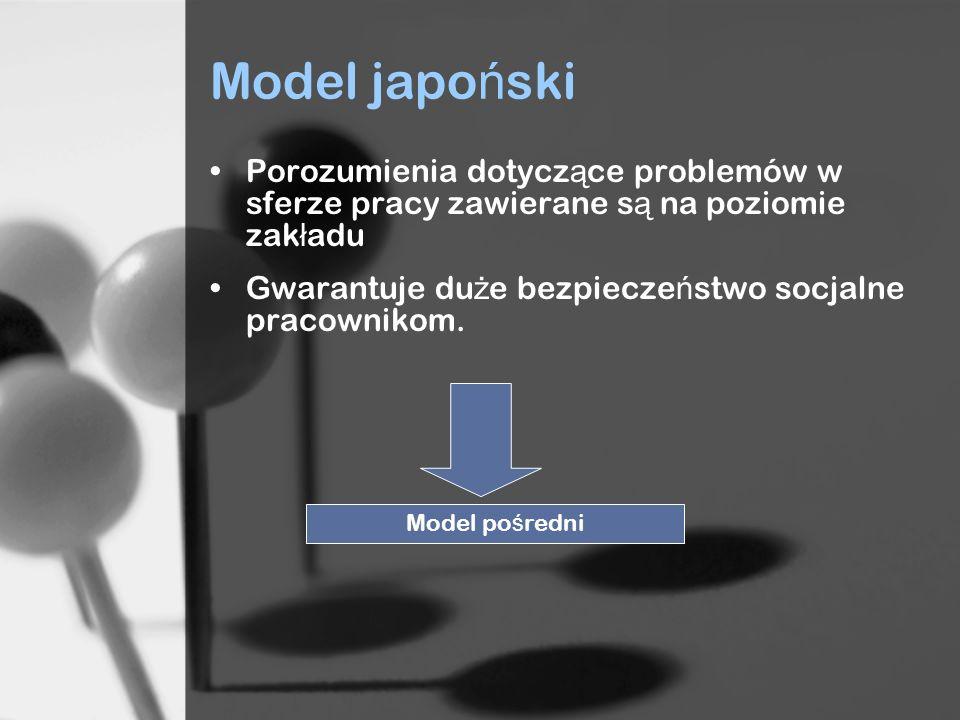 Model japo ń ski Porozumienia dotycz ą ce problemów w sferze pracy zawierane s ą na poziomie zak ł adu Gwarantuje du ż e bezpiecze ń stwo socjalne pracownikom.