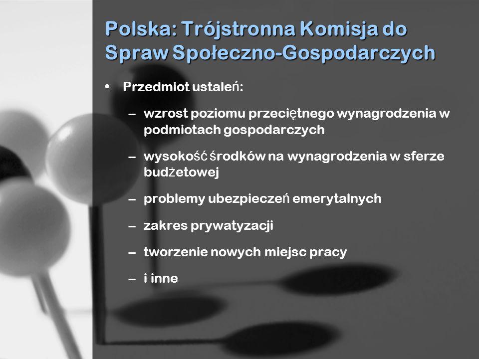 Polska: Trójstronna Komisja do Spraw Spo ł eczno-Gospodarczych Przedmiot ustale ń : –wzrost poziomu przeci ę tnego wynagrodzenia w podmiotach gospodarczych –wysoko ść ś rodków na wynagrodzenia w sferze bud ż etowej –problemy ubezpiecze ń emerytalnych –zakres prywatyzacji –tworzenie nowych miejsc pracy –i inne