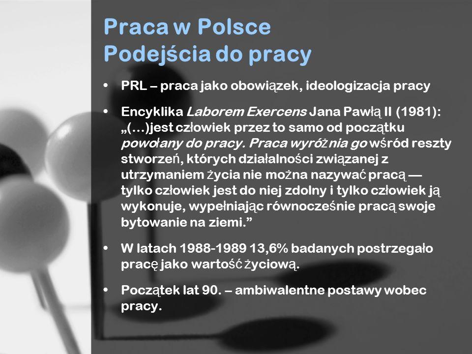 Praca w Polsce Podej ś cia do pracy PRL – praca jako obowi ą zek, ideologizacja pracy Encyklika Laborem Exercens Jana Paw łą II (1981): (…)jest cz ł owiek przez to samo od pocz ą tku powo ł any do pracy.