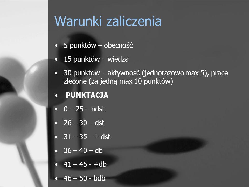 Warunki zaliczenia 5 punktów – obecność 15 punktów – wiedza 30 punktów – aktywność (jednorazowo max 5), prace zlecone (za jedną max 10 punktów) PUNKTACJA 0 – 25 – ndst 26 – 30 – dst 31 – 35 - + dst 36 – 40 – db 41 – 45 - +db 46 – 50 - bdb