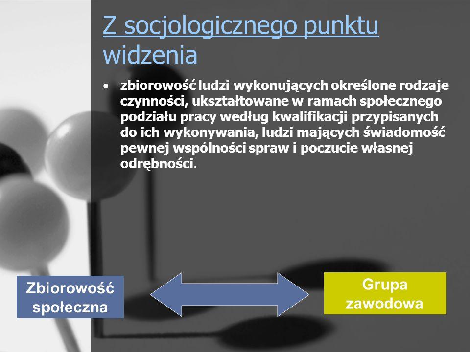 Z socjologicznego punktu widzenia zbiorowość ludzi wykonujących określone rodzaje czynności, ukształtowane w ramach społecznego podziału pracy według