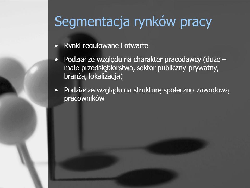 Segmentacja rynków pracy Rynki regulowane i otwarte Podział ze względu na charakter pracodawcy (duże – małe przedsiębiorstwa, sektor publiczny-prywatn