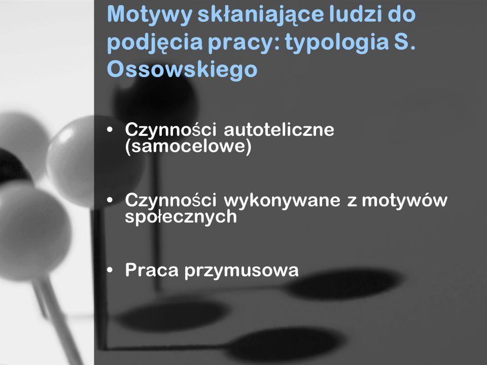 Motywy sk ł aniaj ą ce ludzi do podj ę cia pracy: typologia S.