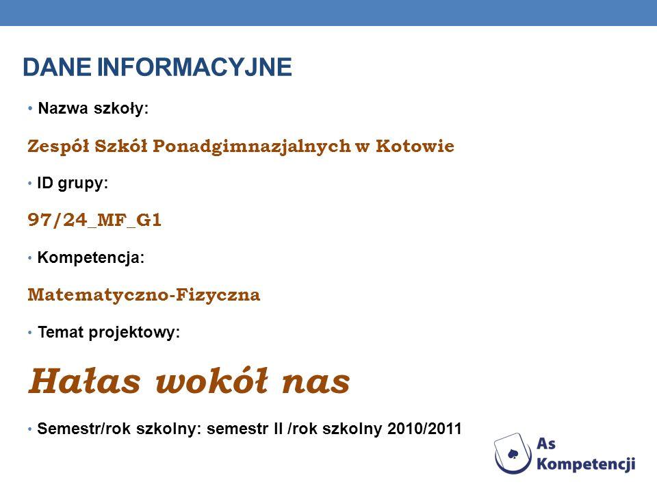 DANE INFORMACYJNE Nazwa szkoły: Zespół Szkół Ponadgimnazjalnych w Kotowie ID grupy: 97/24_MF_G1 Kompetencja: Matematyczno-Fizyczna Temat projektowy: H