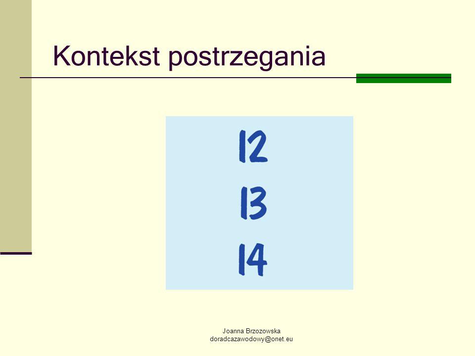 Joanna Brzozowska doradcazawodowy@onet.eu Kontekst postrzegania