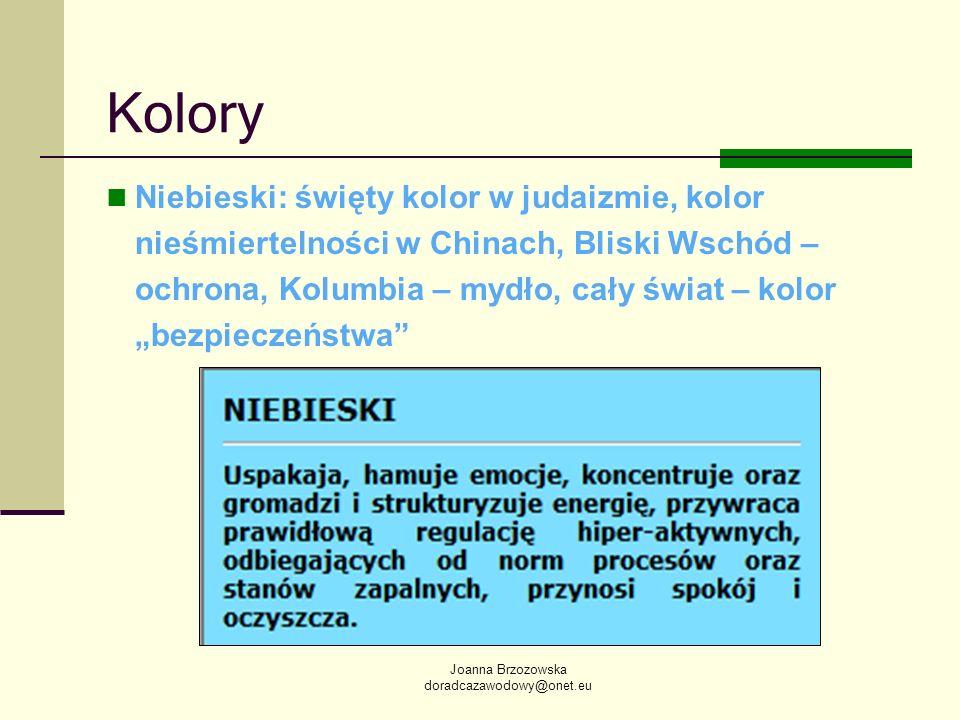 Joanna Brzozowska doradcazawodowy@onet.eu Kolory Niebieski: święty kolor w judaizmie, kolor nieśmiertelności w Chinach, Bliski Wschód – ochrona, Kolum