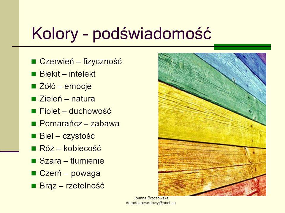 Joanna Brzozowska doradcazawodowy@onet.eu Kolory – podświadomość Czerwień – fizyczność Błękit – intelekt Żółć – emocje Zieleń – natura Fiolet – duchow