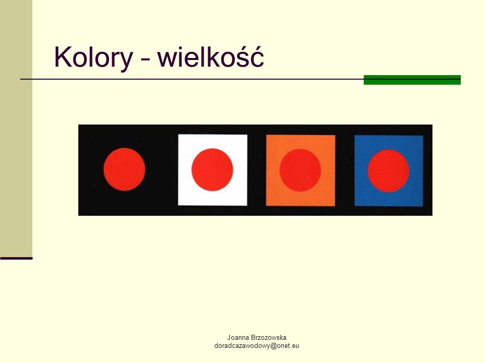 Joanna Brzozowska doradcazawodowy@onet.eu Kolory – wielkość