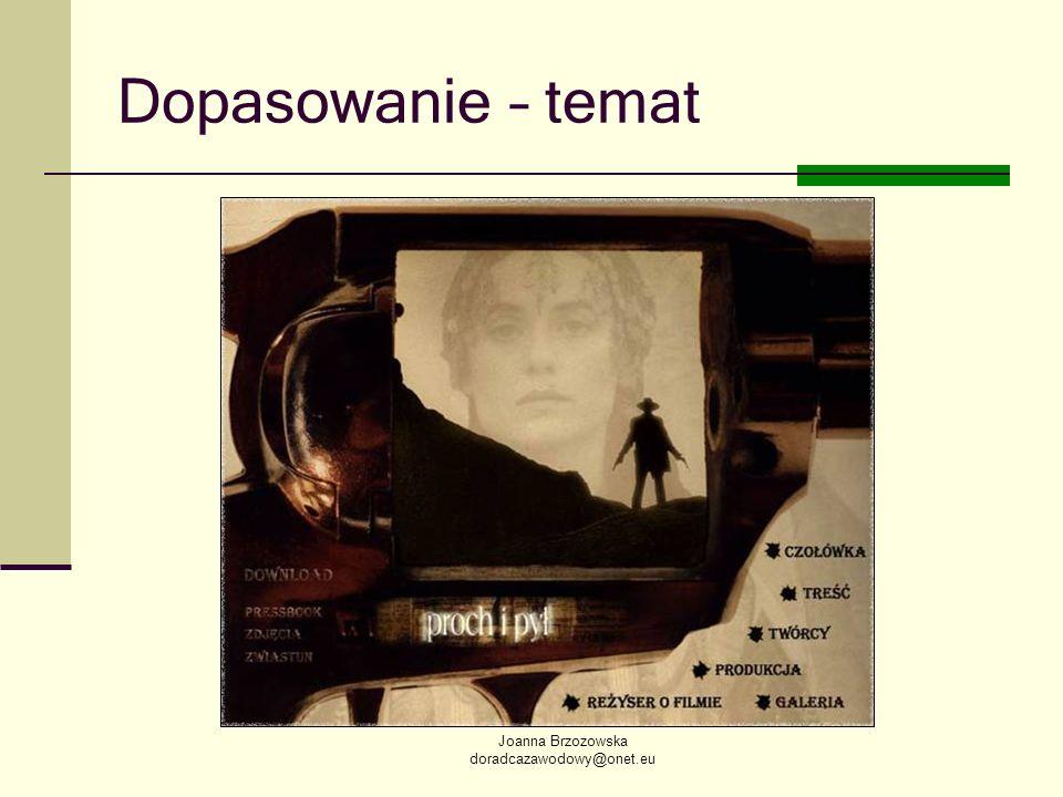 Joanna Brzozowska doradcazawodowy@onet.eu Dopasowanie – temat