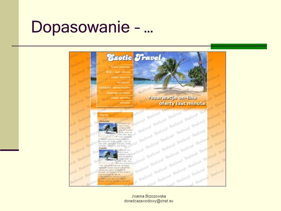Joanna Brzozowska doradcazawodowy@onet.eu Dopasowanie – …