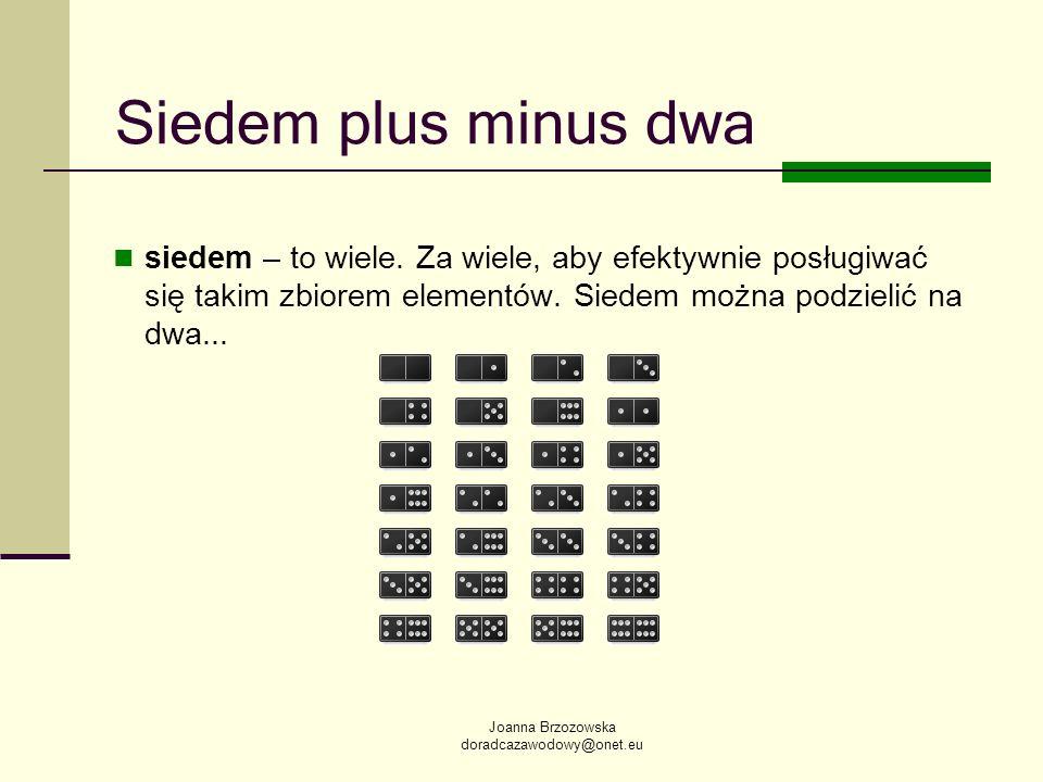 Joanna Brzozowska doradcazawodowy@onet.eu Siedem plus minus dwa siedem – to wiele. Za wiele, aby efektywnie posługiwać się takim zbiorem elementów. Si