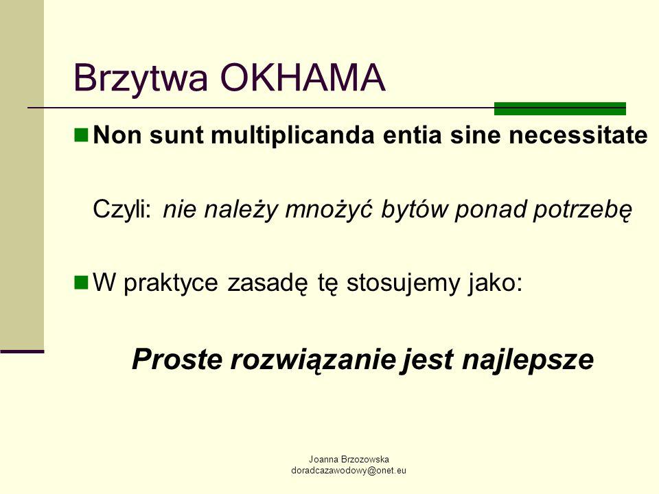 Joanna Brzozowska doradcazawodowy@onet.eu Brzytwa OKHAMA Non sunt multiplicanda entia sine necessitate Czyli: nie należy mnożyć bytów ponad potrzebę W