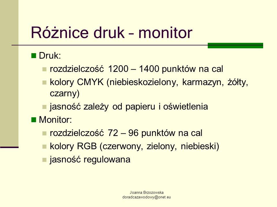 Joanna Brzozowska doradcazawodowy@onet.eu Różnice druk – monitor Druk: rozdzielczość 1200 – 1400 punktów na cal kolory CMYK (niebieskozielony, karmazy