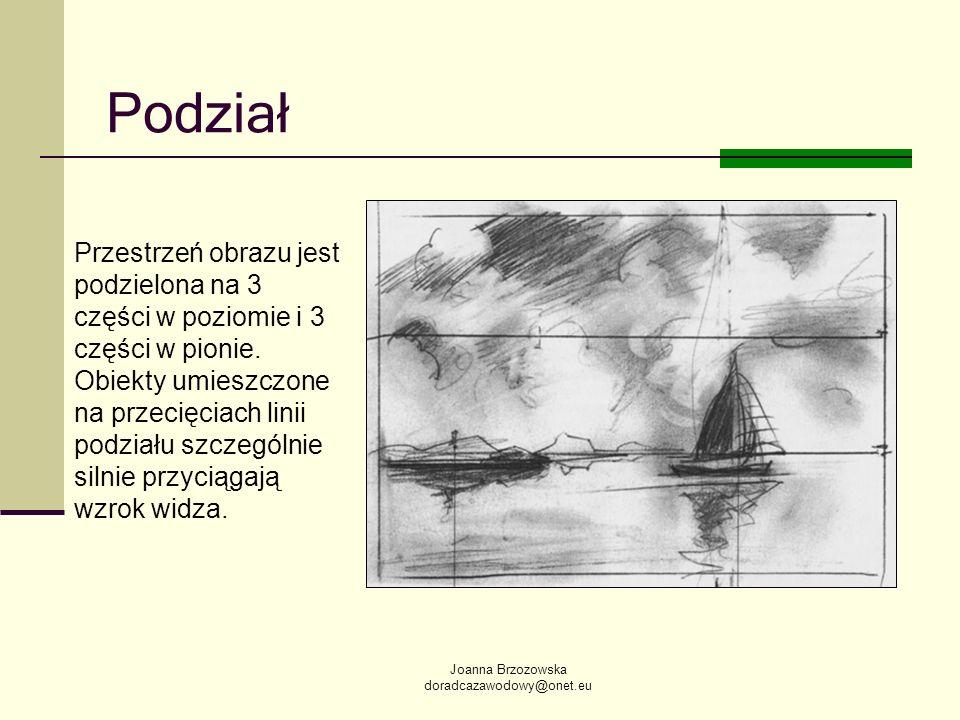 Joanna Brzozowska doradcazawodowy@onet.eu Przestrzeń obrazu jest podzielona na 3 części w poziomie i 3 części w pionie. Obiekty umieszczone na przecię