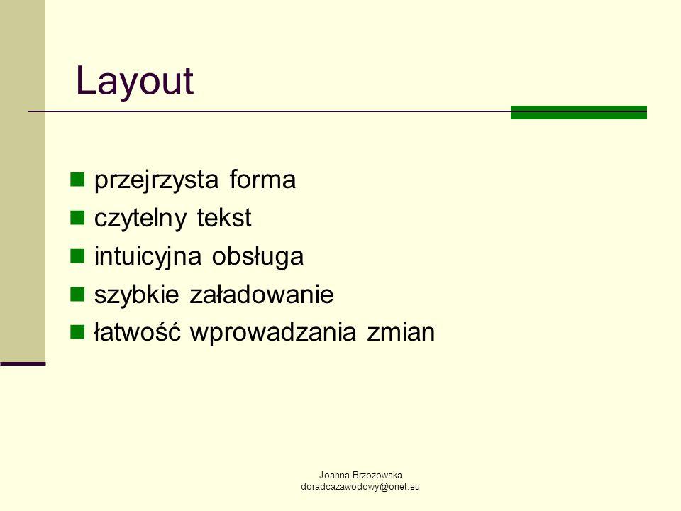 Joanna Brzozowska doradcazawodowy@onet.eu Layout przejrzysta forma czytelny tekst intuicyjna obsługa szybkie załadowanie łatwość wprowadzania zmian