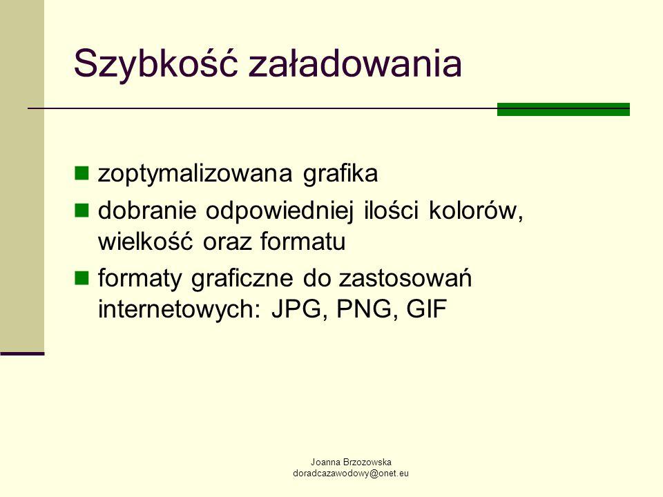 Joanna Brzozowska doradcazawodowy@onet.eu Szybkość załadowania zoptymalizowana grafika dobranie odpowiedniej ilości kolorów, wielkość oraz formatu for