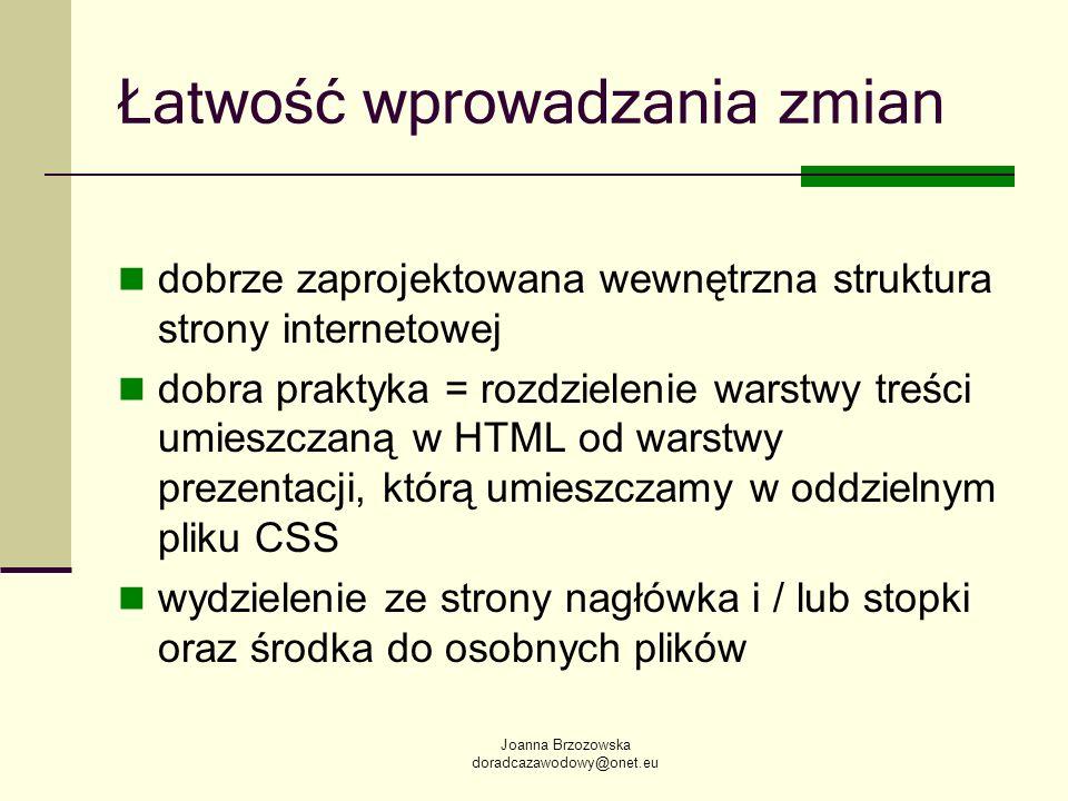 Joanna Brzozowska doradcazawodowy@onet.eu Łatwość wprowadzania zmian dobrze zaprojektowana wewnętrzna struktura strony internetowej dobra praktyka = r