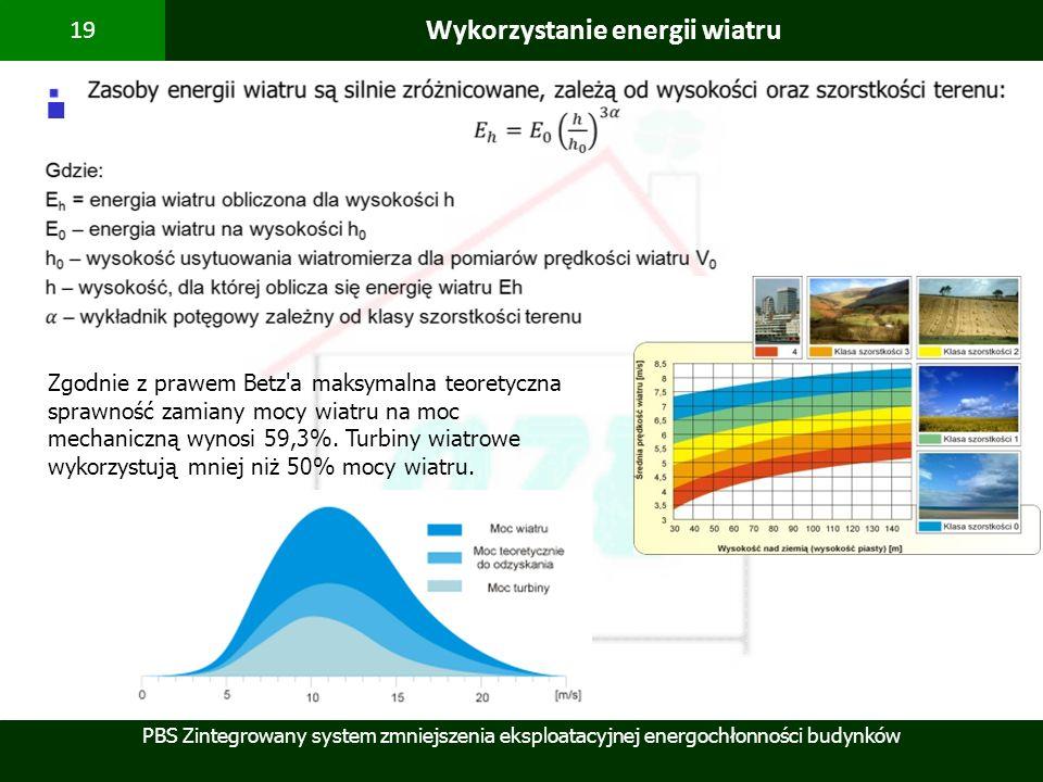 PBS Zintegrowany system zmniejszenia eksploatacyjnej energochłonności budynków 19 Wykorzystanie energii wiatru Zgodnie z prawem Betz'a maksymalna teor