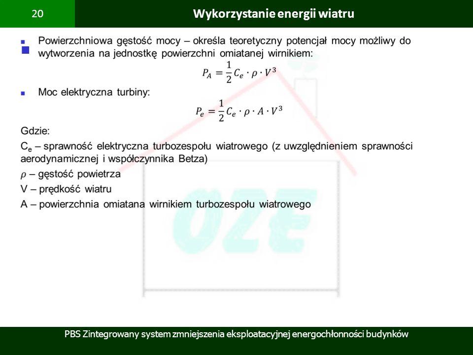 PBS Zintegrowany system zmniejszenia eksploatacyjnej energochłonności budynków 20 Wykorzystanie energii wiatru