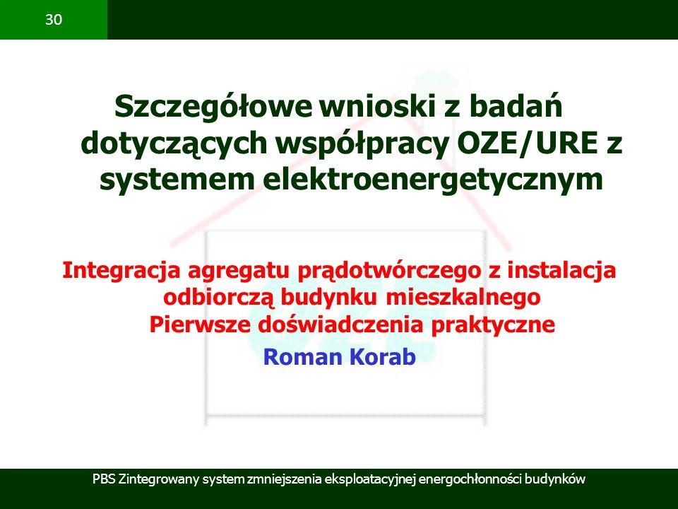 PBS Zintegrowany system zmniejszenia eksploatacyjnej energochłonności budynków 30 Szczegółowe wnioski z badań dotyczących współpracy OZE/URE z systeme