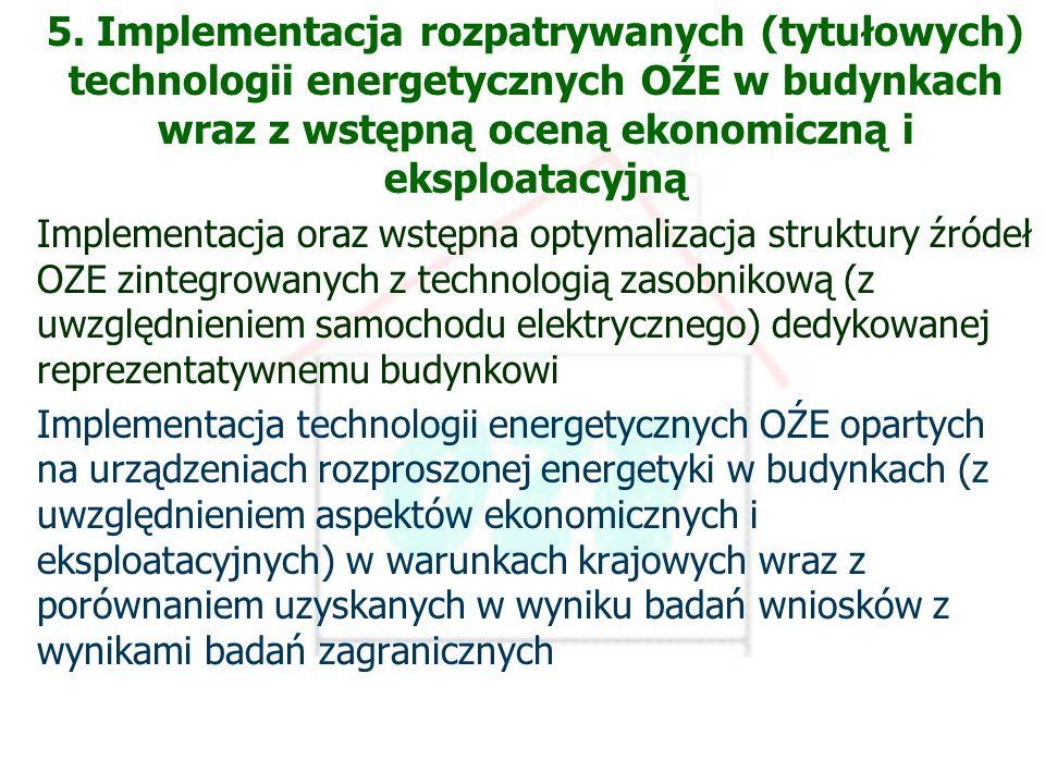 PBS Zintegrowany system zmniejszenia eksploatacyjnej energochłonności budynków 8 Etap 6 5. Implementacja rozpatrywanych (tytułowych) technologii energ