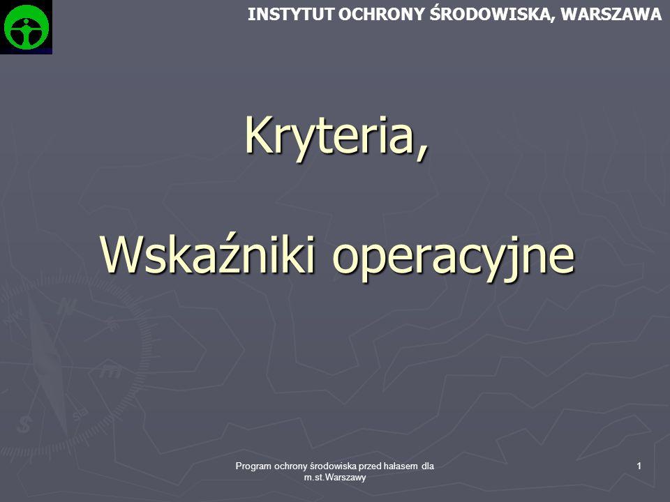 Program ochrony środowiska przed hałasem dla m.st.Warszawy 1 Kryteria, Wskaźniki operacyjne INSTYTUT OCHRONY ŚRODOWISKA, WARSZAWA