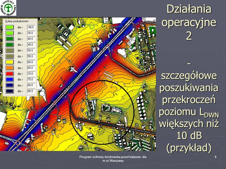 Program ochrony środowiska przed hałasem dla m.st.Warszawy 9 Działania operacyjne 2 - szczegółowe poszukiwania przekroczeń poziomu L DWN większych niż