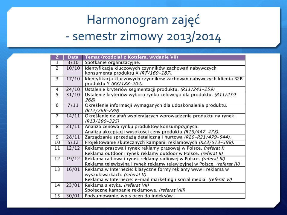 Harmonogram zajęć - semestr zimowy 2013/2014
