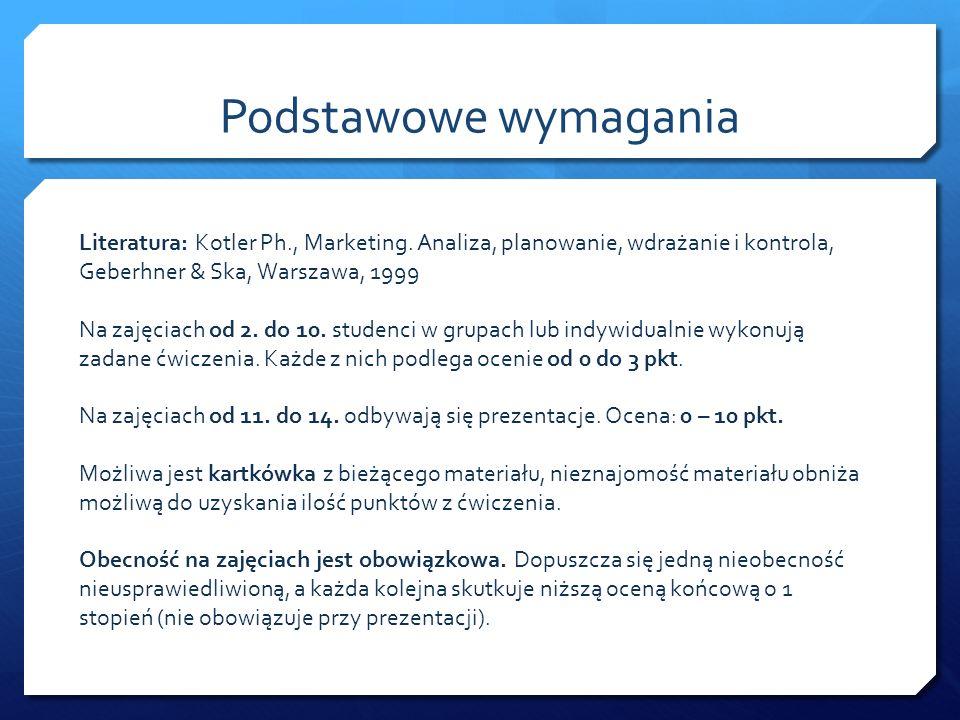 Podstawowe wymagania Literatura: Kotler Ph., Marketing. Analiza, planowanie, wdrażanie i kontrola, Geberhner & Ska, Warszawa, 1999 Na zajęciach od 2.